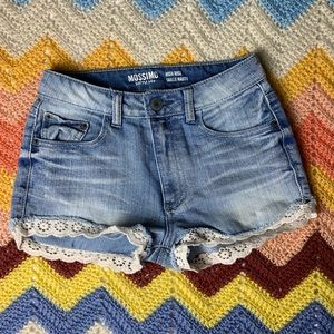 Mossimo High Rise Denim Shorts w/ Lace Hem/Trim